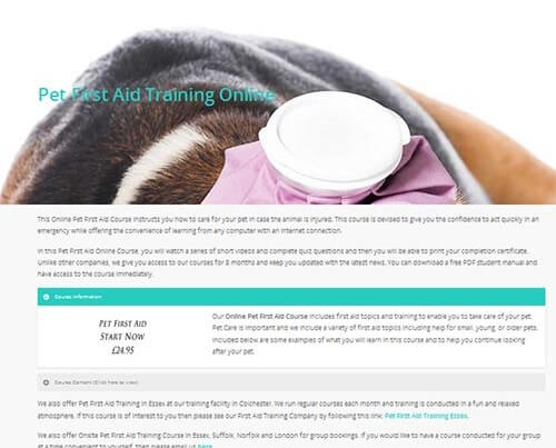 Pet first aid training online course, click here to view